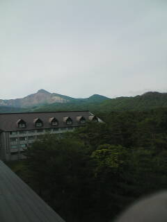 今朝の磐梯山と桧原湖